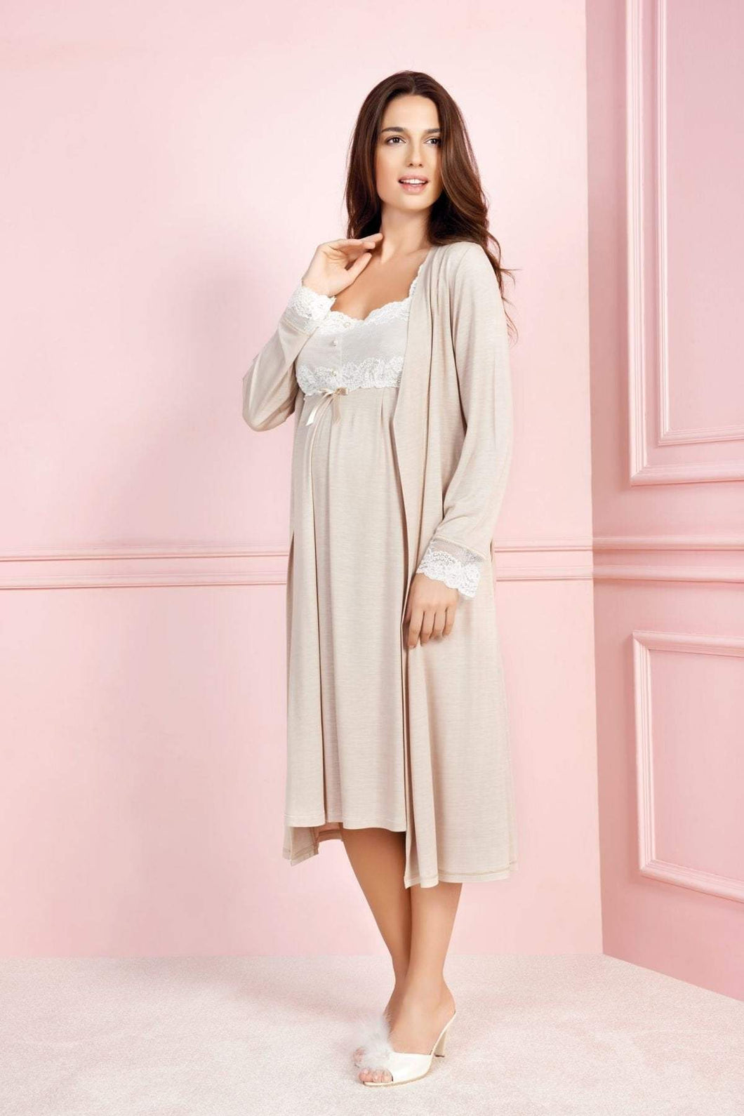 2 Piece Maternity,Nursing Nightgown Pajama Set Featuring Dress w/Lace, Pearl Details, Matching Robe with Belt