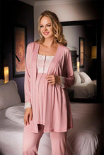 Load image into Gallery viewer, 3 Piece Rose Maternity and Nursing Pajama Set w/Pretty Lace Details Featuring Nursing Top Pants,Robe w/Belt