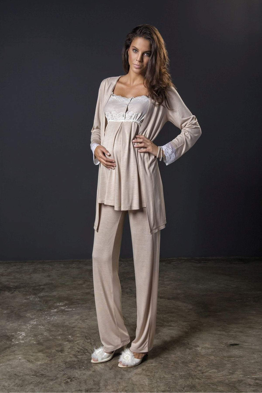 3 Piece Maternity and Nursing Pajama Set w/Pretty Lace Details Featuring Nursing Top Pants and Robe with Belt