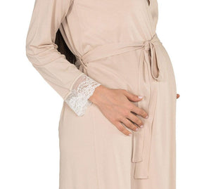 2 Pcs Brown Maternity,Nursing Nightgown Pajama Set Featuring Dress w/Lace,Pearl Details,Matching Robe w/Belt