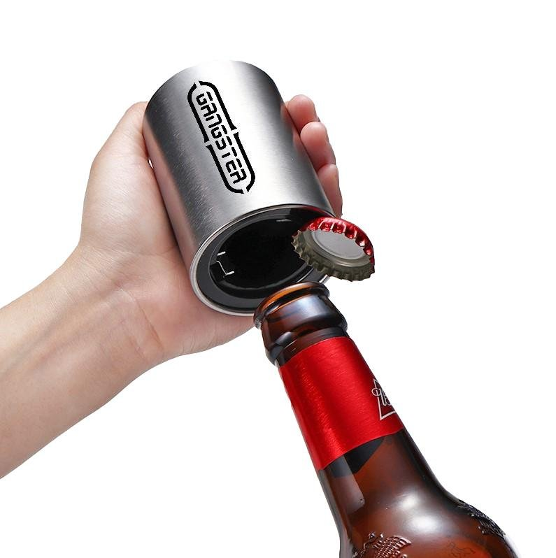 Stainless Steel Push Down Automatic Quick Decap Kitchen Gadget Beer Gifts for Men Black Among Us Magnetic Beer Bottle Opener