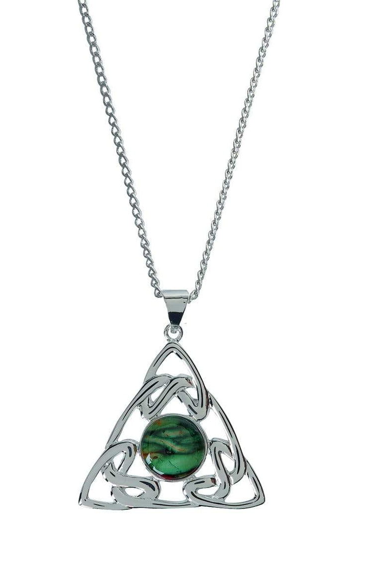 Trinity Knot Silver Plated Heathergems Pendant Necklace - Dandelion Jewellery