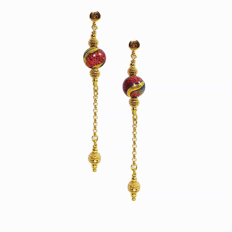 Gold Plated Murano Glass Earrings - OCD 018 Y03 - Dandelion Jewellery