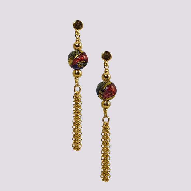 Gold Plated Murano Glass Earrings - OCD 077 Y03 - Dandelion Jewellery