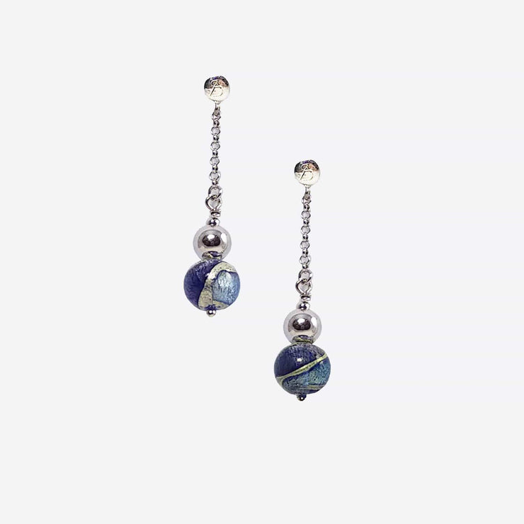 Murano Glass Silver  Earrings - OCR 043 W02 - Dandelion Jewellery