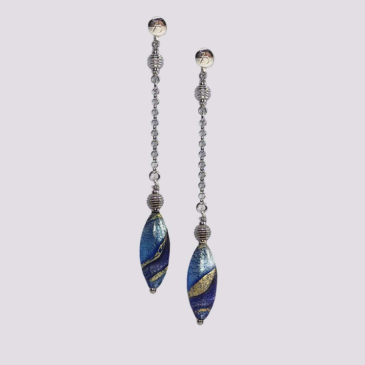 Murano Glass Silver Earrings  - OCR 062 W02 - Dandelion Jewellery