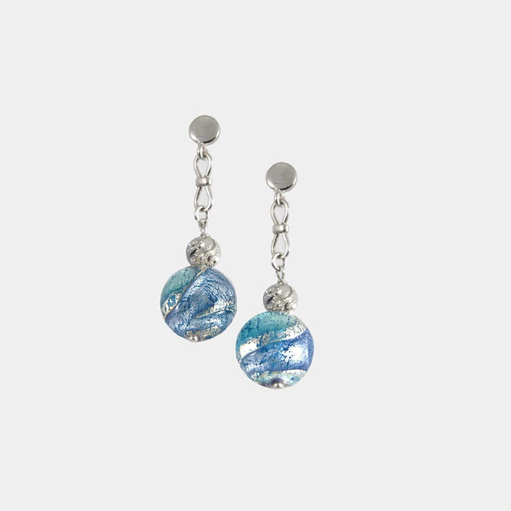 Murano Glass Silver Earrings - OCR 074 W08 - Dandelion Jewellery