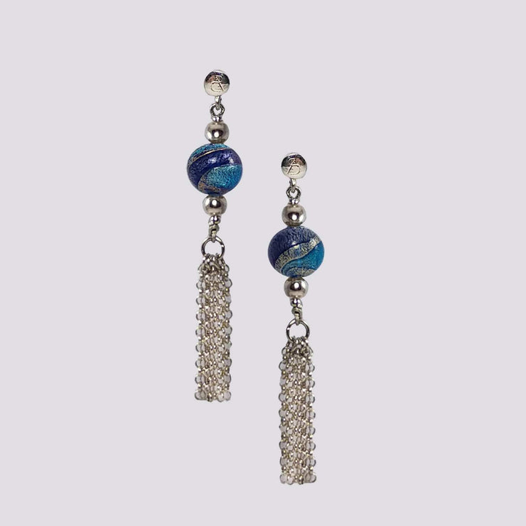 Murano Glass Silver Earrings - OCR 077 W07 - Dandelion Jewellery