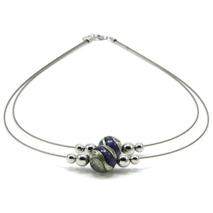 Murano Glass Silver Necklace - CAR 009 W03 - Dandelion Jewellery