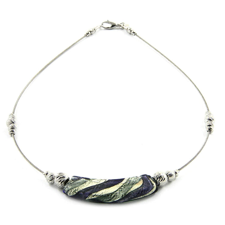 Murano Glass Silver Necklace - Car 027 W03 - Dandelion Jewellery