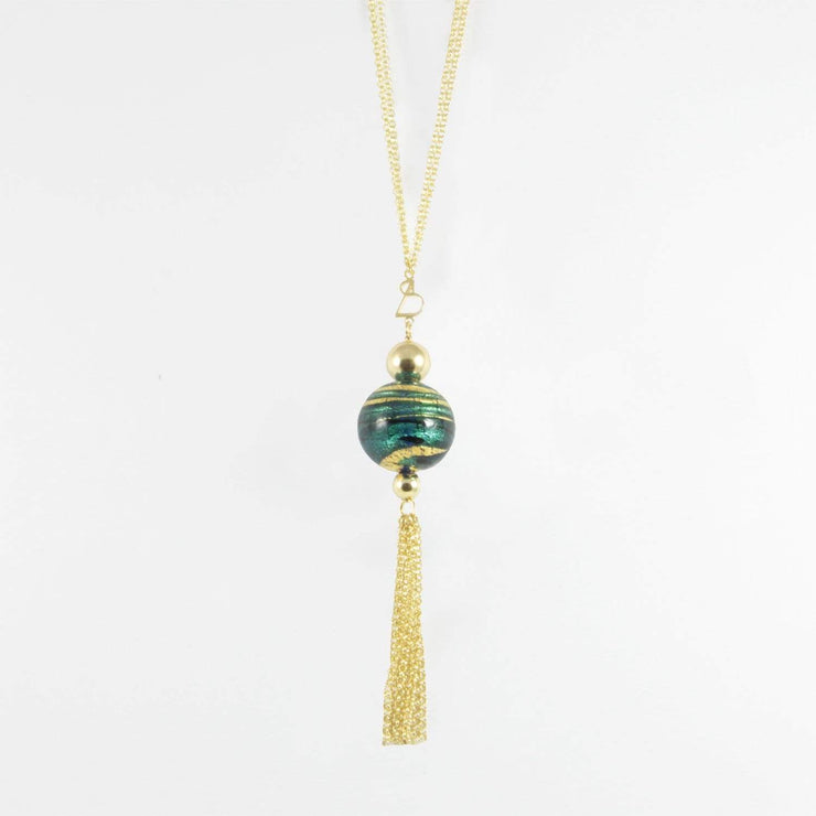 Gold Plated Murano Glass Necklace with Pendant  - CCD 077 Y01 - Dandelion Jewellery