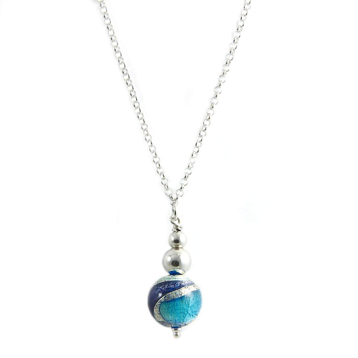 Murano Glass Silver Necklace with Pendant - CCR 030 W07 - Dandelion Jewellery