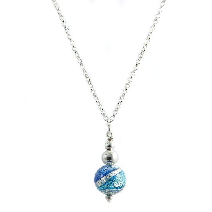 Murano Glass Silver Necklace with Pendant - CCR 030 W08 - Dandelion Jewellery