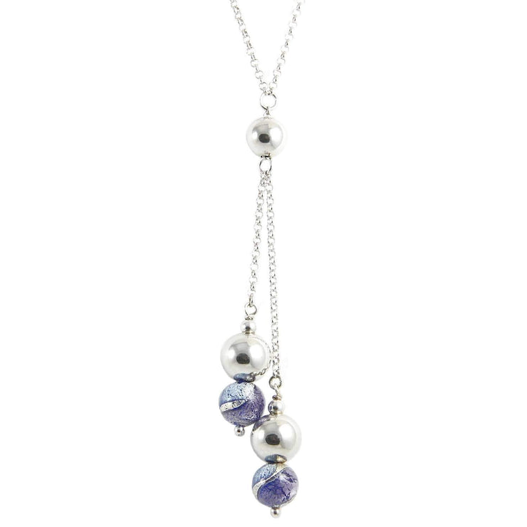 Murano Glass Silver Necklace with Pendant  - CCR 043 2 W02 - Dandelion Jewellery