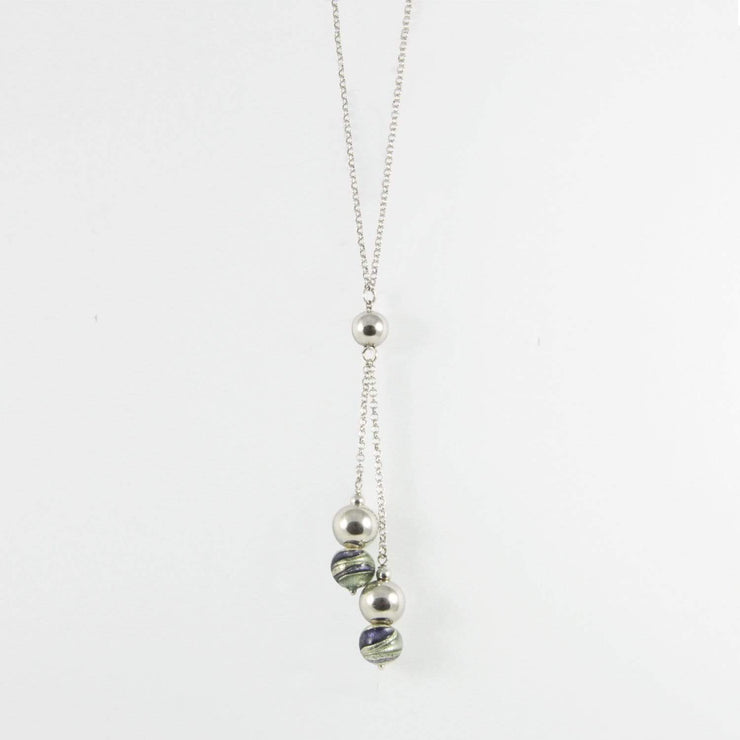 Murano Glass Silver Necklace - CCR 043 W03 - Dandelion Jewellery
