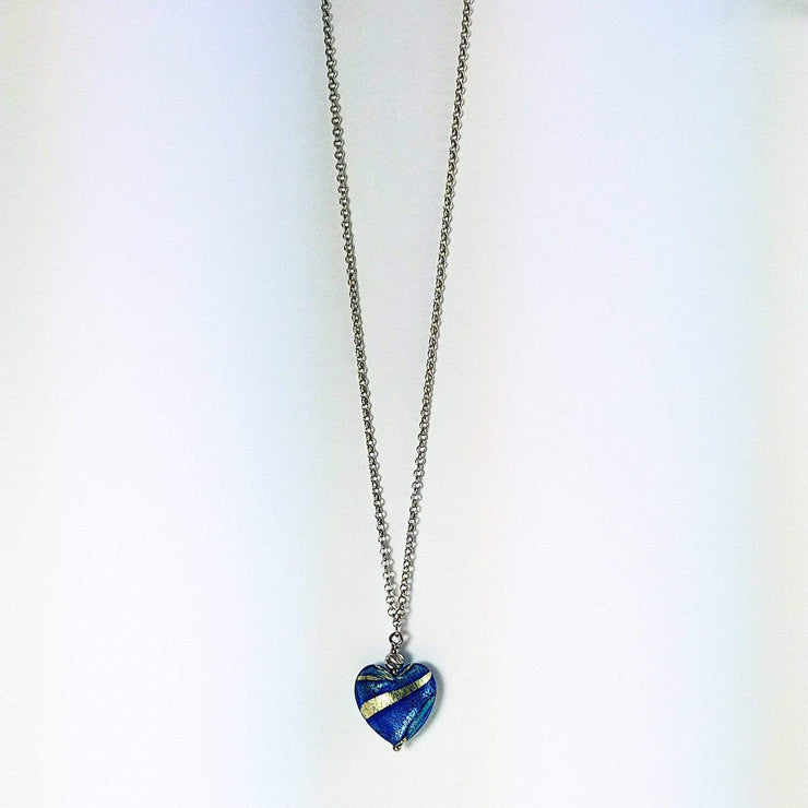 Murano Glass Silver Necklace with heart pendant  - CCR 057 W08 - Dandelion Jewellery