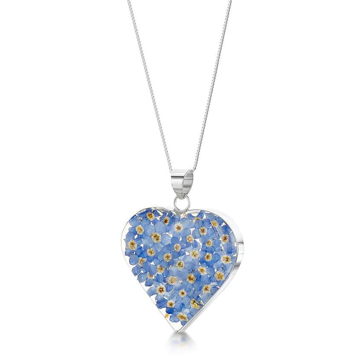 Blue Forget me not flower heart pendant with silver necklace - Dandelion Jewellery