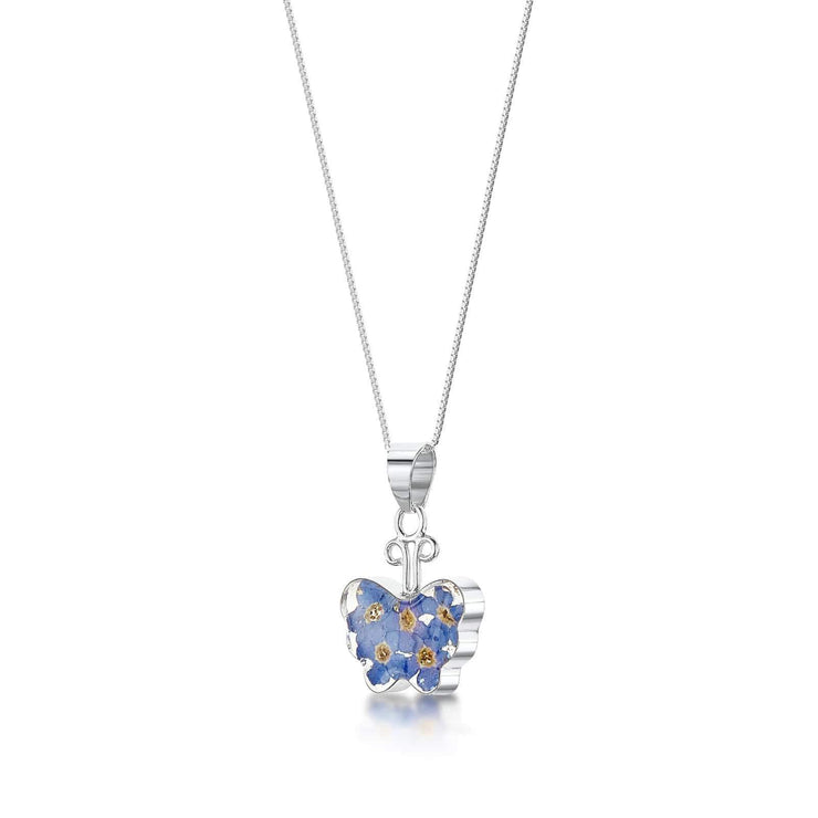 Butterfly Silver Forget-Me-Not Flower Pendant Necklace - Dandelion Jewellery