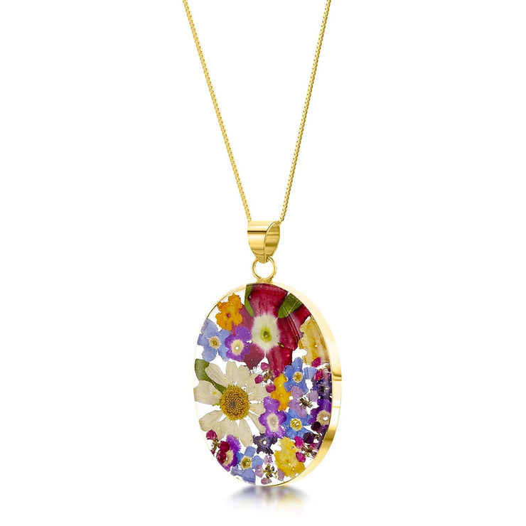 Shrieking Violet Necklace Gold plated silver necklace with oval real flowers pendant