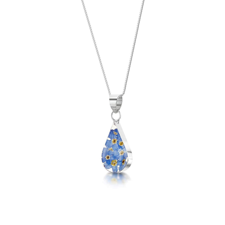 Real flower Teardrop pendant with Silver Necklace - Dandelion Jewellery