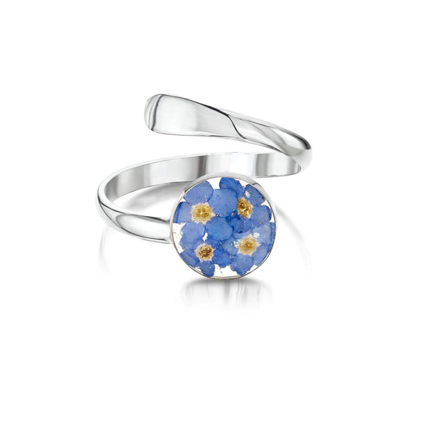 Silver Adjustable Ring with real blue flower - Dandelion Jewellery