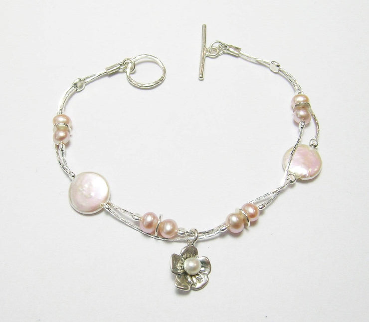 Zuman Silver Rose Bracelet with Coin Pearls B6787 - Dandelion Jewellery