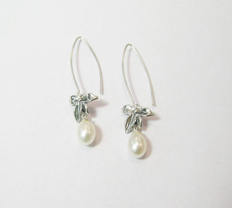 Zuman Silver Earrings with Pearl E9765B - Dandelion Jewellery