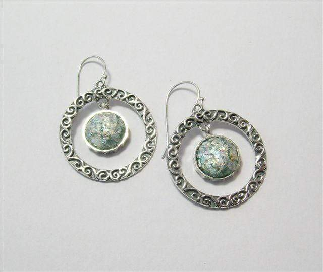 Zuman Silver Earrings with Roman Glass E9513 - Dandelion Jewellery