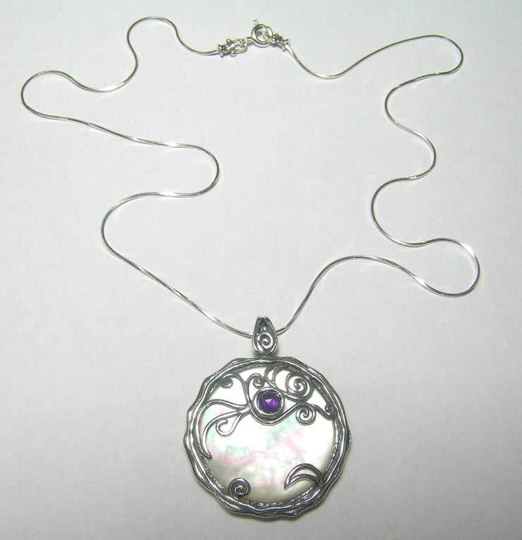Zuman Silver Necklace with Mother of Pearl Pendant N8772 - Dandelion Jewellery