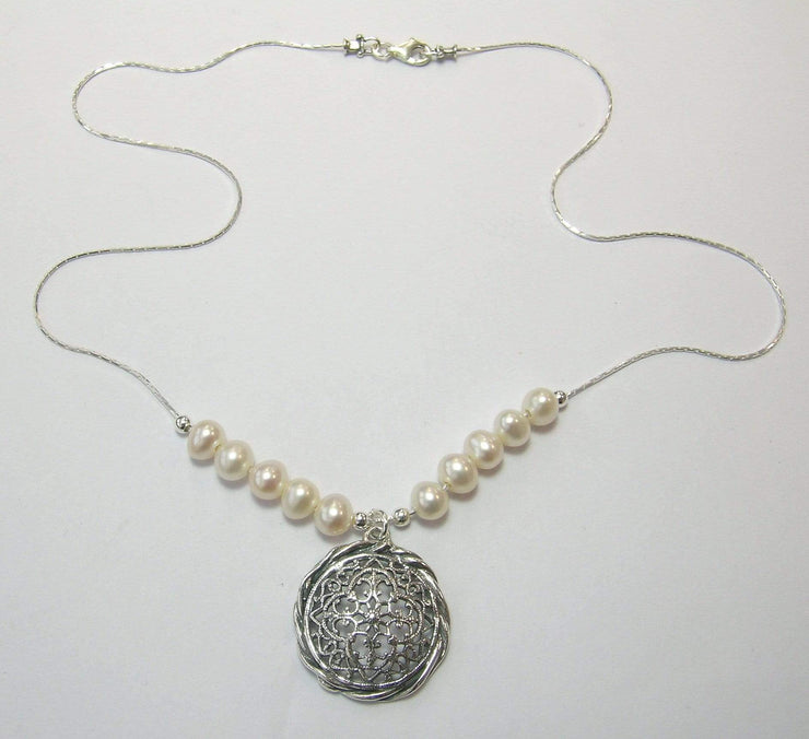 Zuman Silver Necklace with Pearls  N9310-1 - Dandelion Jewellery