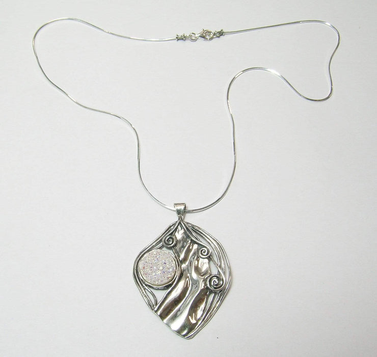 Silver Necklace with Druzy Gemstone Pendant N7587-5 - Dandelion Jewellery