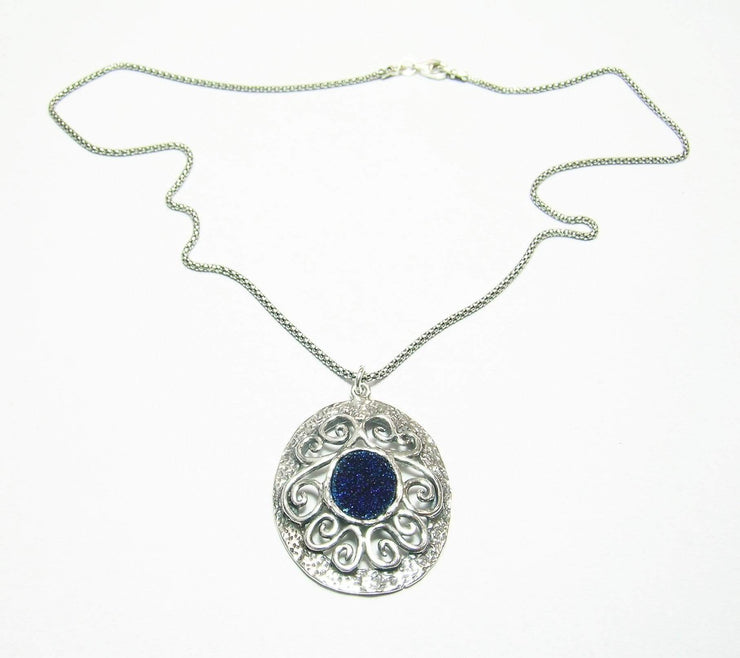 Silver Necklace with Blue Druzy Gemstone Pendant - Dandelion Jewellery
