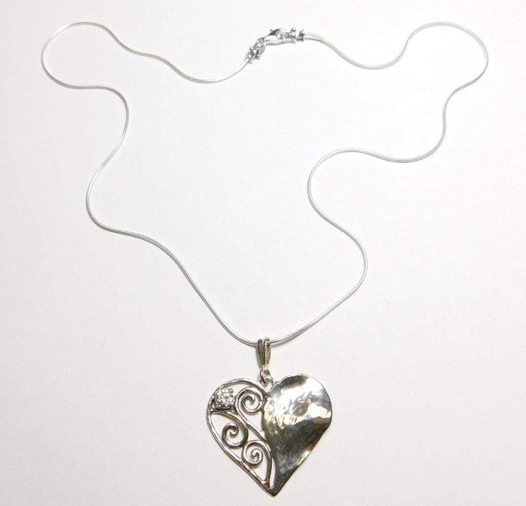 Silver Necklace with Half Heart Zirconium Pendant   N10635 - Dandelion Jewellery
