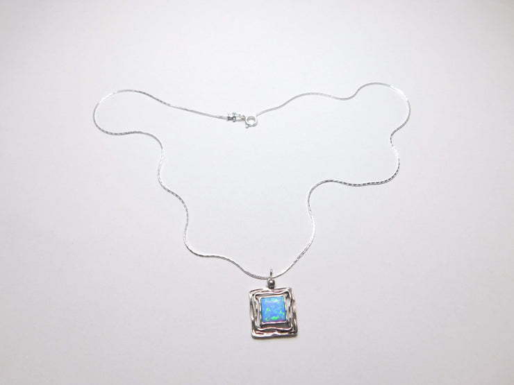 Silver Necklace with Opal  Square Pendant N5412 - Dandelion Jewellery