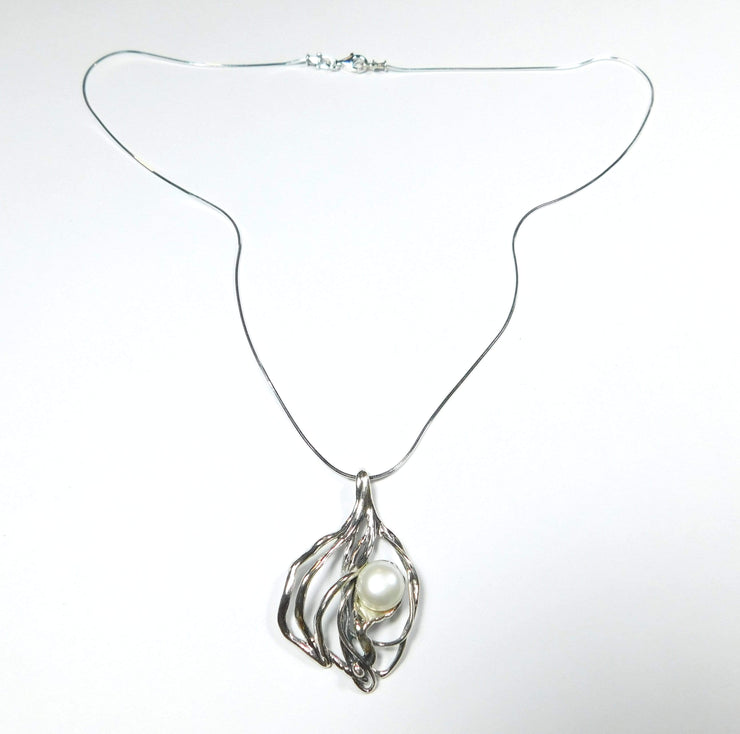 Silver Necklace with Pearl N10952 - Dandelion Jewellery