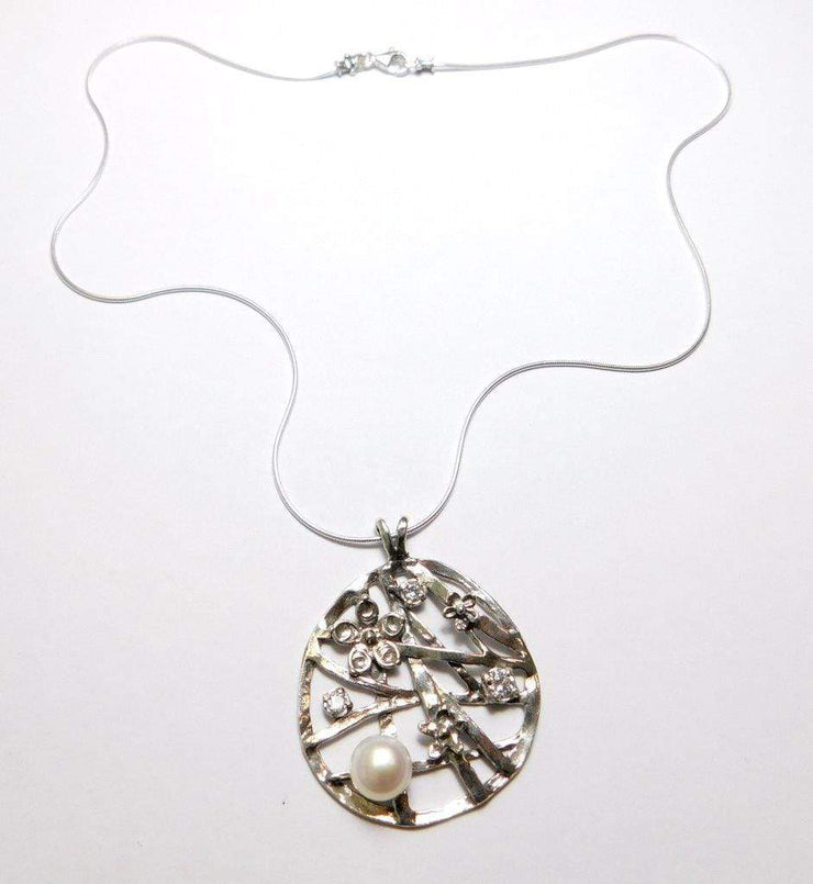 Silver Necklace with Pearl & Zirconium Pendant N10606 - Dandelion Jewellery