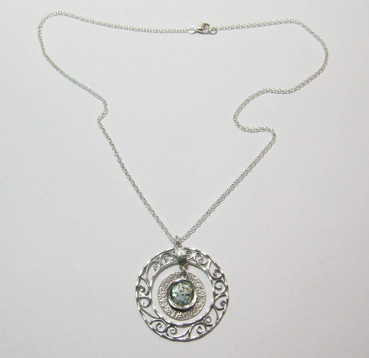Silver Necklace with Roman glass Pendant N4485-5 - Dandelion Jewellery
