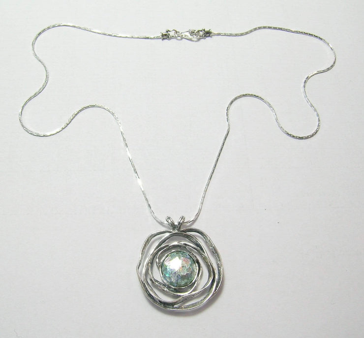 Silver Necklace with Roman glass Gemstone Pendant N6719 - Dandelion Jewellery