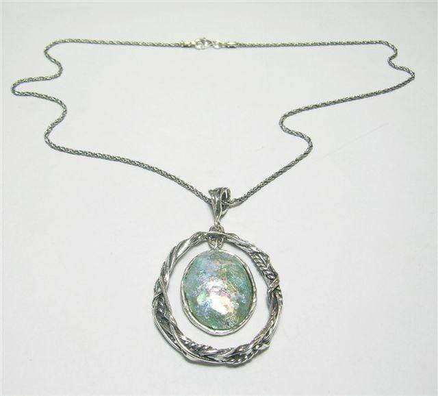 Silver Necklace with Roman Glass Pendant N9532 - Dandelion Jewellery