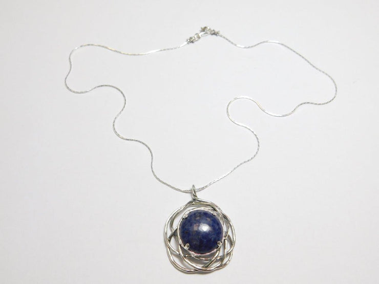 Silver Necklace with Sodalite Gemstone Pendant N10358-1 - Dandelion Jewellery
