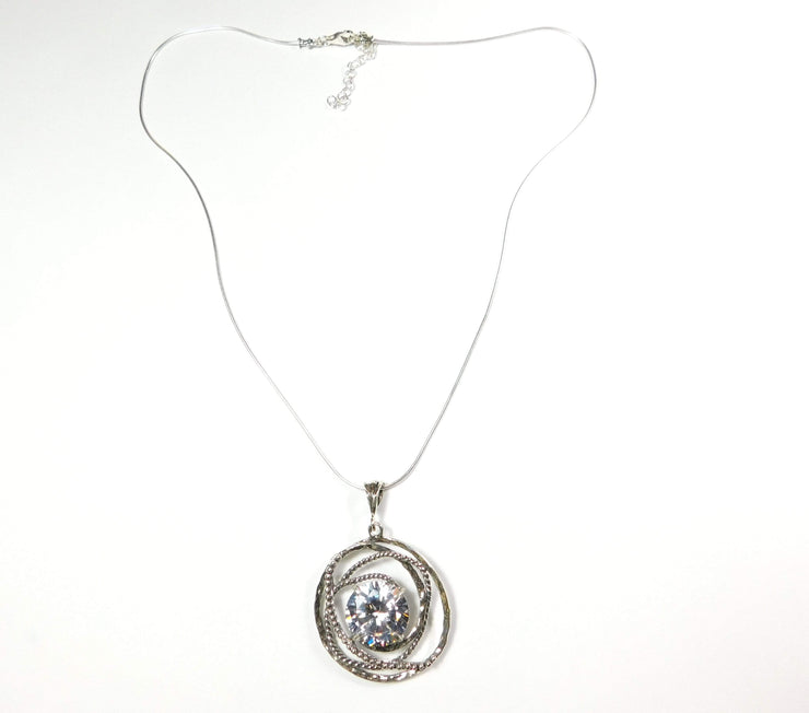Zuman Silver Necklace with Zirconium N10987 - Dandelion Jewellery