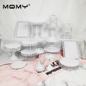 Wholesale Iron Metal Cake Stand Set 14pieces Wedding Cupcake Tray Plate Birthday Party Cake Decoration Tool Bakeware Dinner