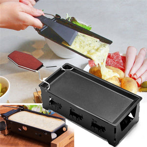 1 Set Iron Metal Non-stick Cheese Raclette Grill Plate With Solid Wood Handle Rectangular Bakeware Kitchen Appliance 10370E