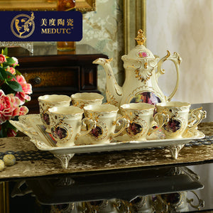 European Bone China Tea Set Coffee Cup Afternoon With Tray Luxury Drinkware Wedding Gift Home Decoration