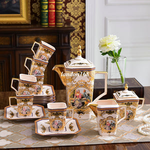 Creatvie square coffee cups and sacuers European style palace character coffee set Ceramic tea set Bone china drinkware