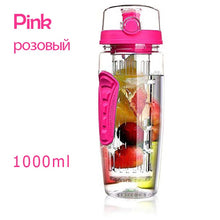 Load image into Gallery viewer, 1L Portable water bottle Tritan Drinkware Bottle Fruit Infuser Bottle Juice Shaker travel Sport Water Bottle detox bottle