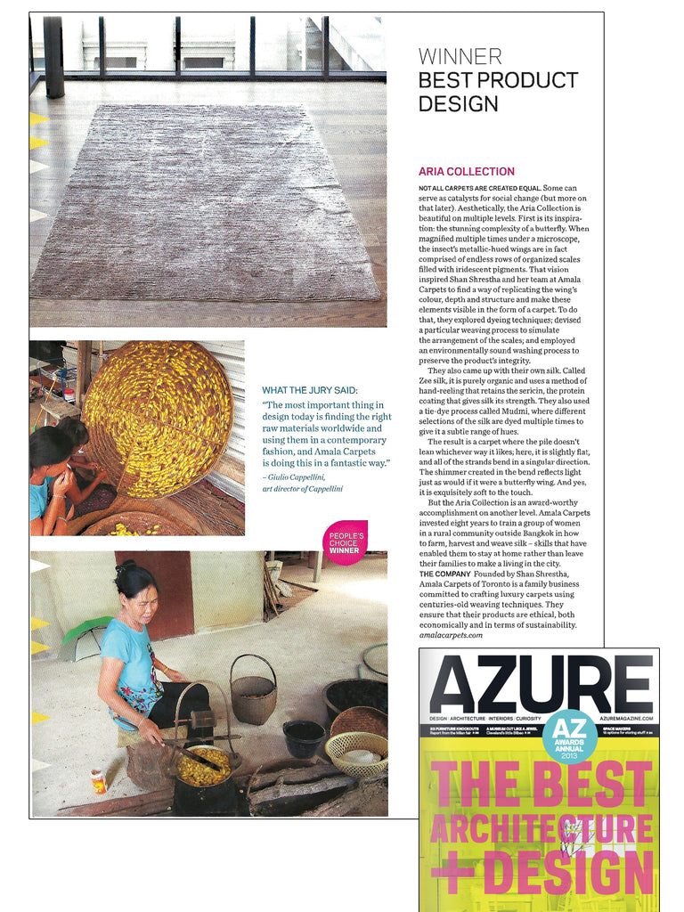 Article in Azure magazine about Aria rug by Amala Carpets winning the AZ award for best interior product in 2013