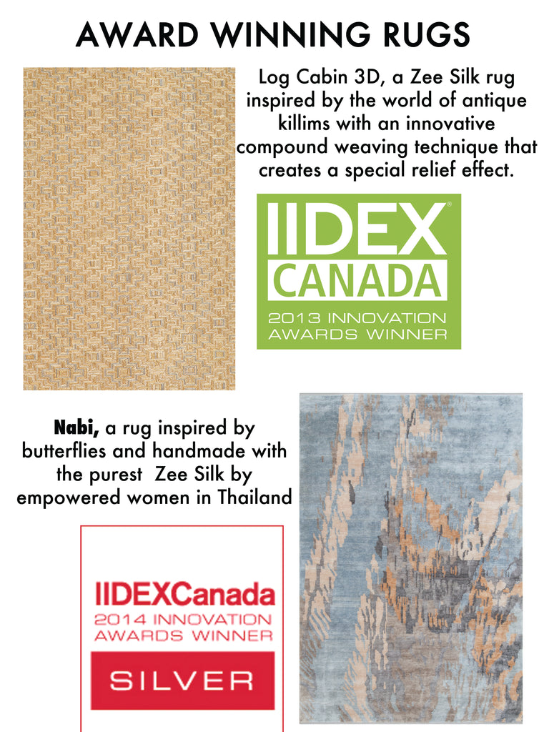 Log cabin 3d and Nabi are two zee silk rugs by amala carpets that have won IIDEX innovation awards