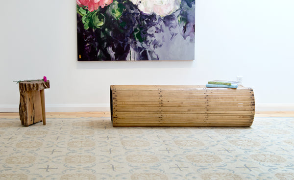 Amala Carpets' Maison Zee Silk rug staged with Brothers Dressler furniture in Toronto