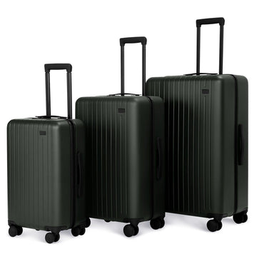 3 Piece Luggage Set Forest Green